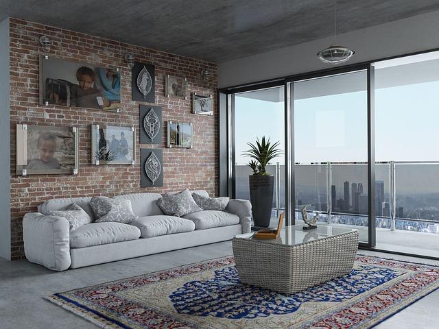 luxusní obývák s bílou sedačkou
